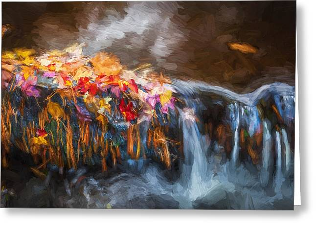 Dingmans Falls Greeting Cards - Waterfalls Childs National Park Painted  Greeting Card by Rich Franco