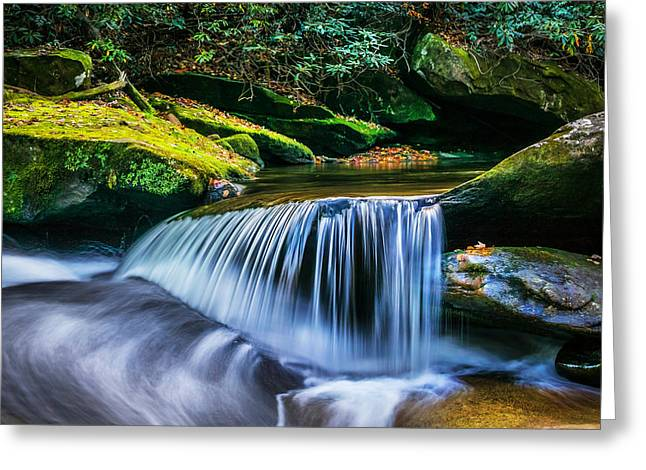 Blue Green Water Greeting Cards - Waterfalls Great Smoky Mountains  Greeting Card by Rich Franco