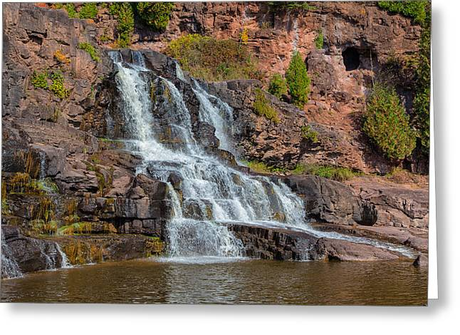 Scenic Drive Greeting Cards - Waterfalls Leading to Lake Superior Greeting Card by John Bailey