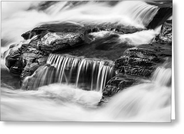 Clean Water Greeting Cards - Waterfalls McDonald Creek Falls Glacier National Park BW Greeting Card by Rich Franco