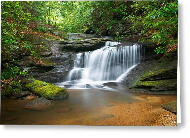Western North Carolina Greeting Cards - Waterfalls - WNC Waterfall Photography Hidden Falls Greeting Card by Dave Allen