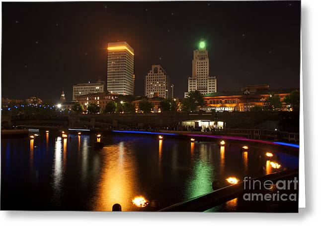 Bonfire Night Greeting Cards - WaterFire.  Providence Rhode Island Greeting Card by Juli Scalzi