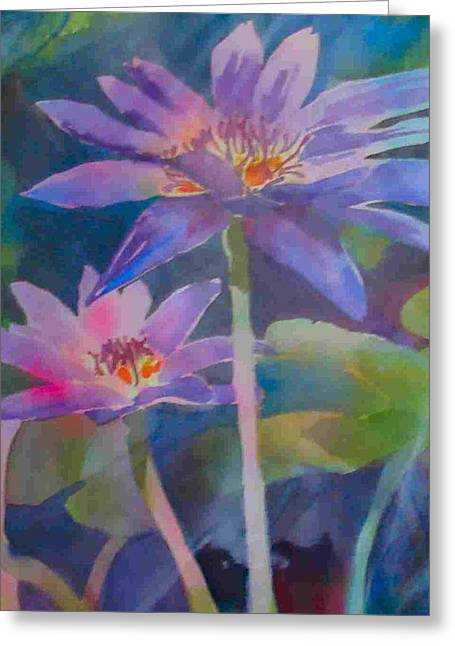 Water Lilly Mixed Media Greeting Cards - Waterflowers Greeting Card by Beryl Kerwick