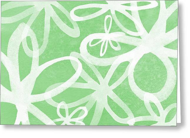 Waterflowers- Green And White Greeting Card by Linda Woods