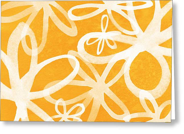 Large Flowers Greeting Cards - Waterflowers- orange and white Greeting Card by Linda Woods