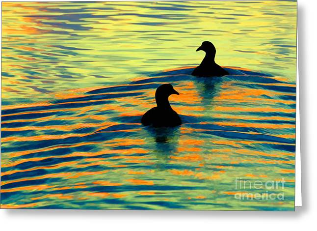 Gold Lime Green Greeting Cards - Waterfowl Greeting Card by Novastock