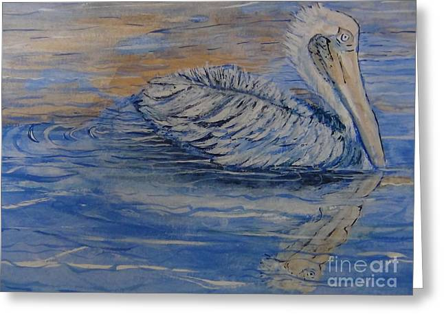 Fishing Creek Mixed Media Greeting Cards - Waterfowl realistic Reflection Horizontal CloseUp  Greeting Card by Connie Holman