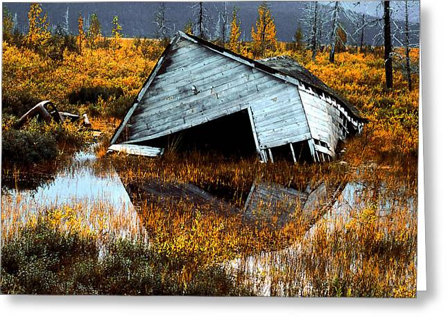 Cabin Interiors Digital Greeting Cards - Waterfront Cottage Greeting Card by Barbara D Richards