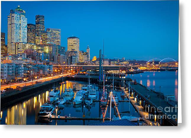 Marina Night Greeting Cards - Waterfront Enchantment Greeting Card by Inge Johnsson