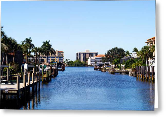 Naples Greeting Cards - Waterfront Homes In Naples, Florida, Usa Greeting Card by Panoramic Images