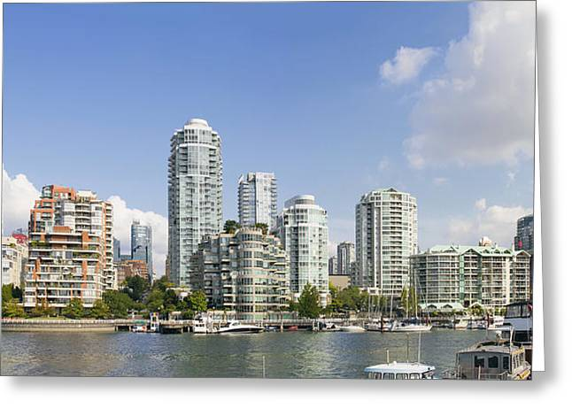 Cambie Bridge Greeting Cards - Waterfront Living by Granville Island Bridge Vancouver BC Greeting Card by JPLDesigns