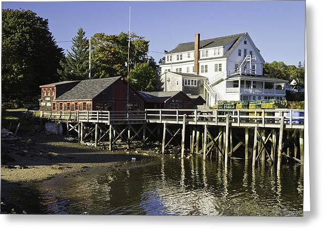 Fishing Village Greeting Cards - Waterfront Pier in Tenants Harbor Maine Greeting Card by Keith Webber Jr