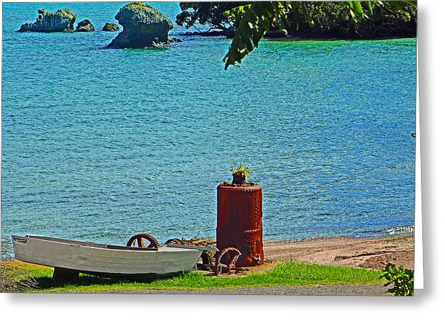 Rusty Oil Drum Greeting Cards - Waterfront scene with boat and oil drum Greeting Card by Marianne Robson