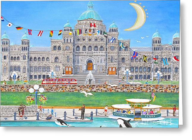 Waterfront Welcome Greeting Card by Virginia Ann Hemingson