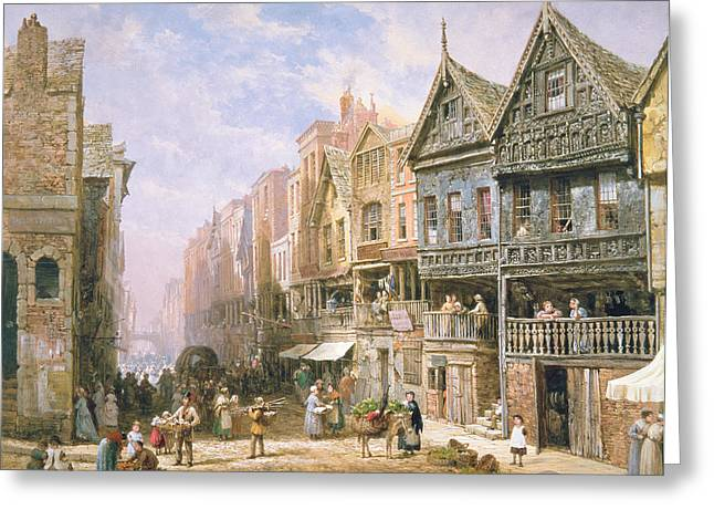 Village Life Greeting Cards - Watergate Street looking towards Eastgate Chester Greeting Card by Louise J Rayner