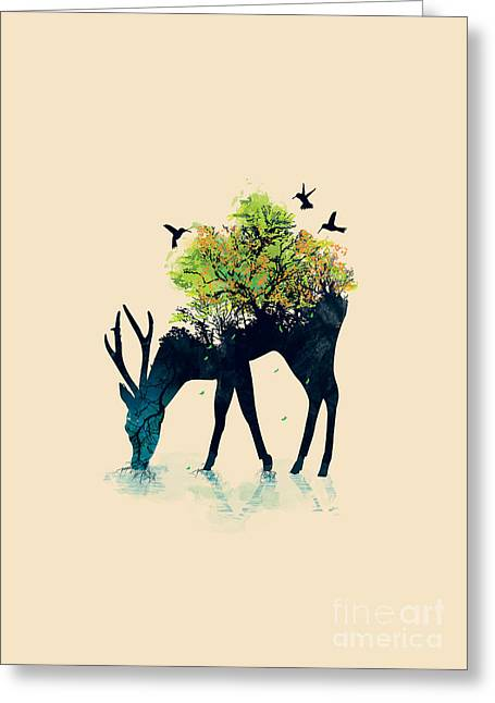 Silhouettes Digital Art Greeting Cards - Watering A life into itself Greeting Card by Budi Satria Kwan