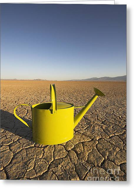 Californian Greeting Cards - Watering Can & Dry Lake Greeting Card by GIPhotoStock
