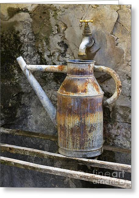 Faucet Greeting Cards - Watering Can Greeting Card by John Shaw