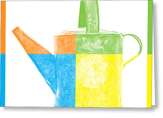 Pop Can Greeting Cards - Watering Can Pop Art Greeting Card by Edward Fielding