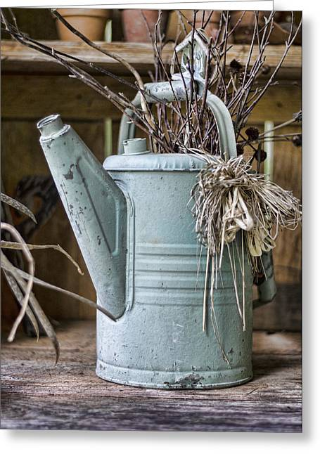 Watering Can Pot Greeting Card by Heather Applegate