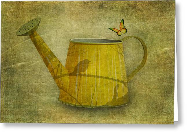 Watering Can Greeting Cards - Watering Can with Texture Greeting Card by Tom Mc Nemar