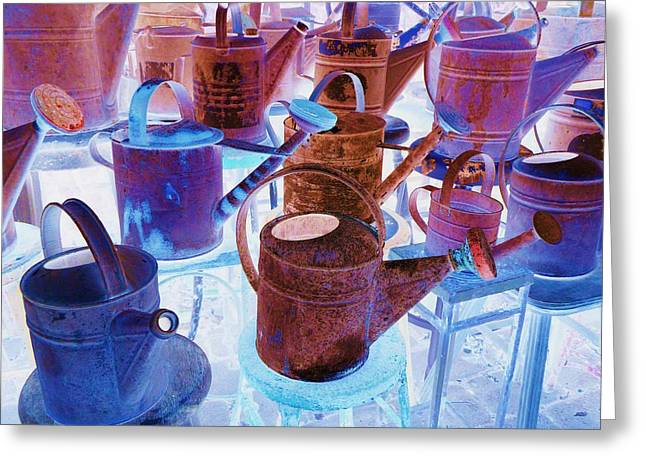 Mahogany Red Greeting Cards - Watering Cans Greeting Card by Dietrich ralph  Katz