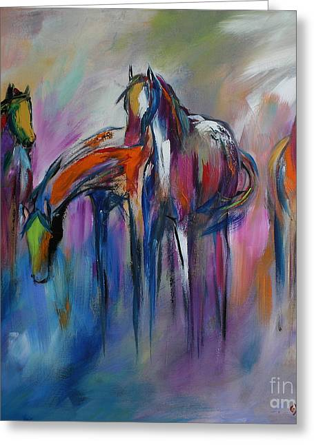 Horses Paintings Greeting Cards - Watering Hole Greeting Card by Cher Devereaux