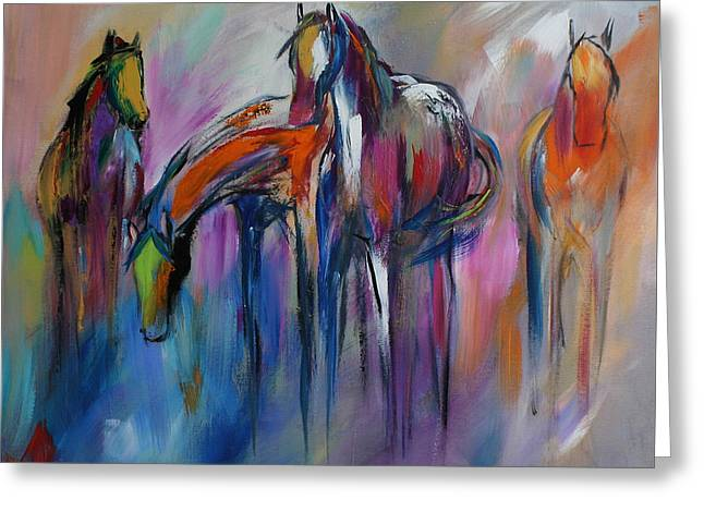 Wild Horses Greeting Cards - Watering Hole Greeting Card by Cher Devereaux