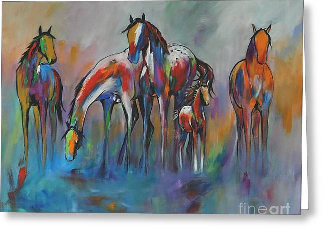Wild Horse Greeting Cards - Watering Hole 2 Greeting Card by Cher Devereaux