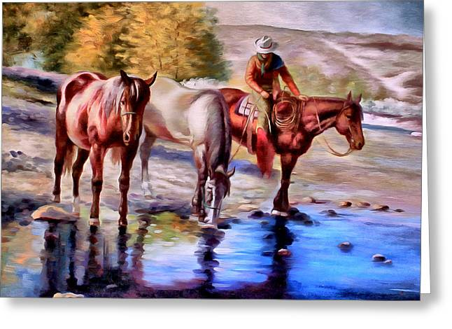 The Horse Greeting Cards - Watering The Horses Greeting Card by Studio Artist