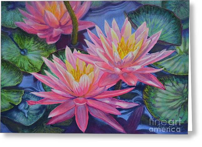 Water Garden Pastels Greeting Cards - Water Lilies 1 Greeting Card by Fiona Craig