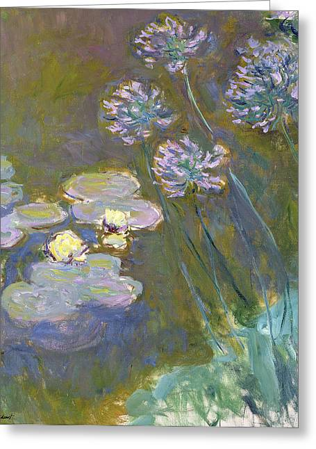 Lilly Pond Paintings Greeting Cards - Waterlilies and Agapanthus Greeting Card by Claude Monet