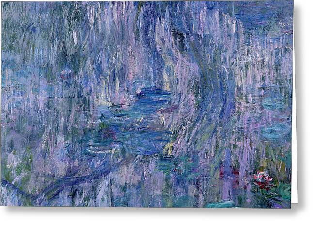 Inv Greeting Cards - Waterlilies and Reflections of a Willow Tree Greeting Card by Claude Monet