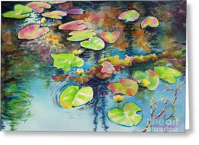 Reflection Of Trees In Water Greeting Cards - Waterlilies in Shadow Greeting Card by Kathy Braud