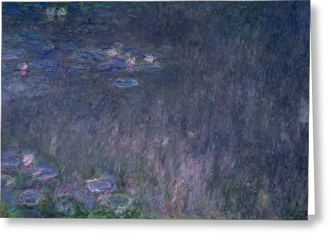 Les Greeting Cards - Waterlilies Reflections Of Trees, Detail From The Left Hand Side, 1915-26 Oil On Canvas Greeting Card by Claude Monet