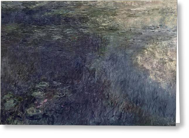 Waterlilies, The Clouds Greeting Card by Claude Monet