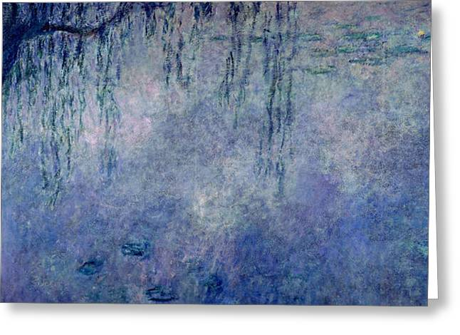 Les Greeting Cards - Waterlilies Two Weeping Willows Greeting Card by Claude Monet