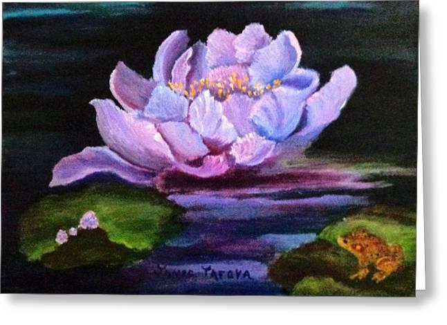 Waterlillie Greeting Card by Janis  Tafoya