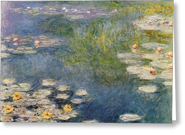 Waterlillies Greeting Cards - Waterlillies At Giverny 1908 Greeting Card by Claude Monet
