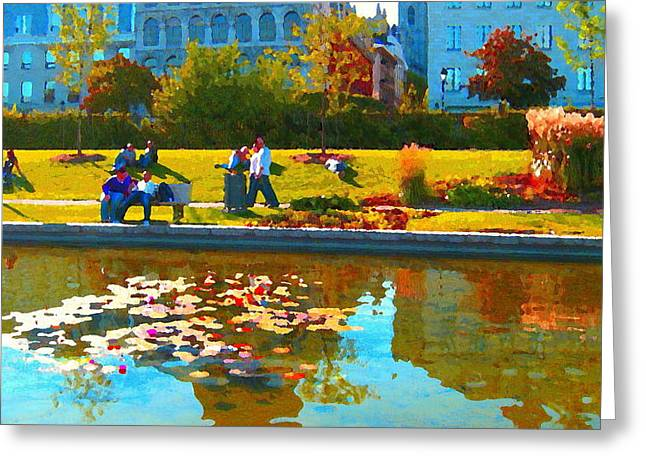 Hommage Greeting Cards - Waterlily Gardens At The Old Port Vieux Montreal Quebec Summer Scenes Carole Spandau Greeting Card by Carole Spandau