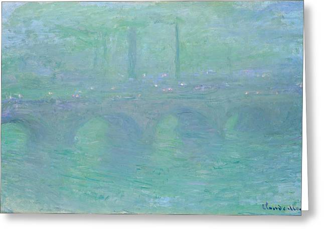 Recently Sold -  - Purple Robe Greeting Cards - Waterloo Bridge at Dusk Greeting Card by Claude Monet
