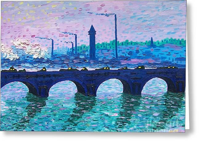 Kevin Croitz Greeting Cards - Waterloo Bridge Homage to Monet Greeting Card by Kevin Croitz