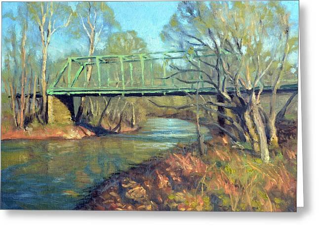 Fauquier County Greeting Cards - Waterloo Bridge Spring Greeting Card by Armand Cabrera