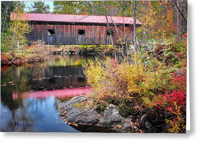 """autumn Foliage New England"" Greeting Cards - Waterloo Covered Bridge - Warner River  NH Greeting Card by Thomas Schoeller"