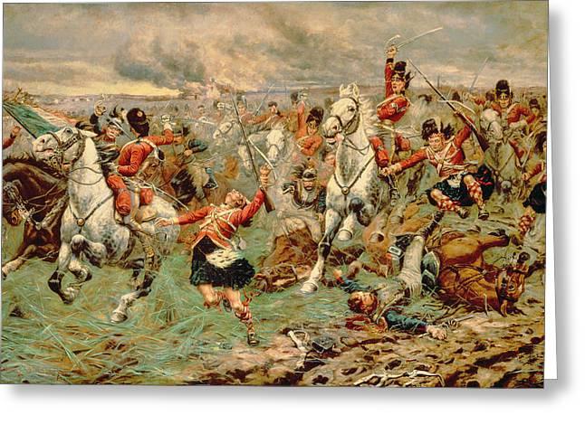 Cavalry Greeting Cards - Waterloo Gordons And Greys Greeting Card by Stanley Berkeley