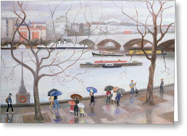 Thames River Greeting Cards - Waterloo Promenade Greeting Card by Terry Scales