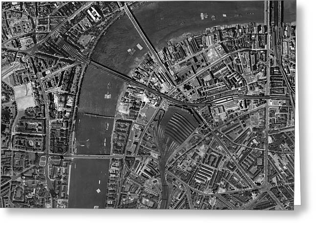 Post-war Greeting Cards - Waterloo Station, Historical Aerial Greeting Card by Getmapping Plc