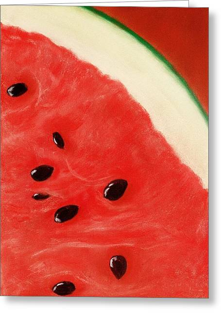 Wall Pastels Greeting Cards - Watermelon Greeting Card by Anastasiya Malakhova