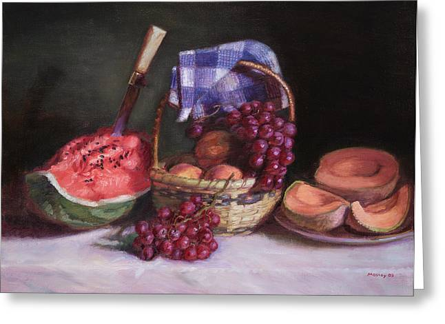 Watermelon Greeting Cards - Watermelon and Fruit Greeting Card by Walter Lynn Mosley