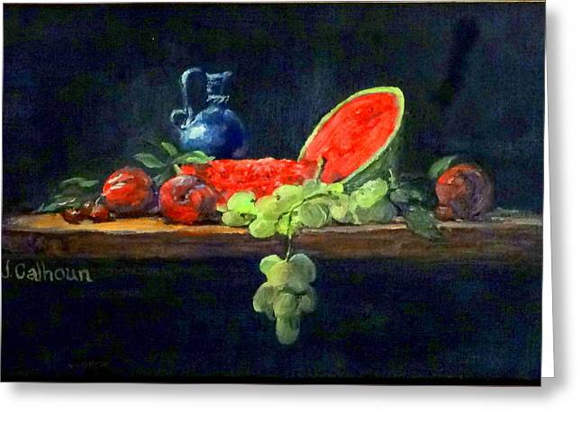 Still Life With Watermelon. Greeting Cards - Watermelon and Plums Greeting Card by Jennifer Calhoun